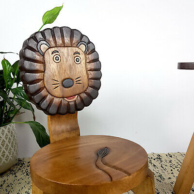 MANGO TREES Kids Chair  Wooden Children Stool Timber Play Chair Lion