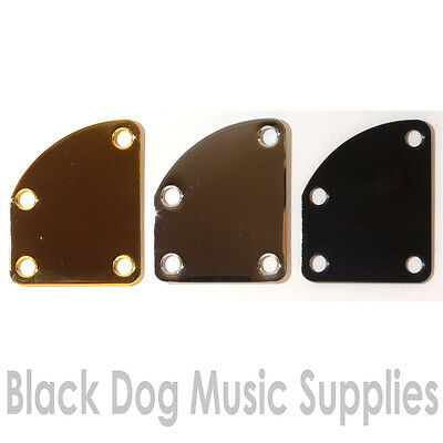 Asymmetric curved Guitar Neck Joint Plate in Gold, Black or Chrome inc screws