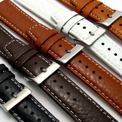 Padded Buffalo Grain Leather Watch Strap 22mm 20mm 18mm Contrast Stitching C026