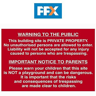 Scan SCA4251 Building Site Warning To Public And Parents Sign - PVC 600 x 400mm