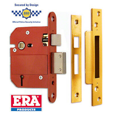 "ERA FORTRESS BRITISH STANDARD 5 LEVER DOOR LOCK SASH LOCK 2.5"" / 3"" Brass Chrome"