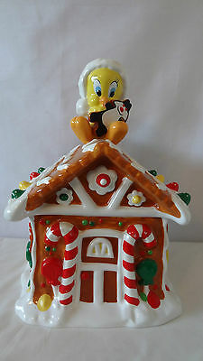 Warner Brother 1997 Sylvester And Tweety Christmas Store House Cookie Jar #e1031