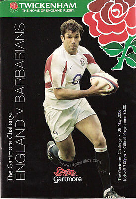 ENGLAND v BARBARIANS 2006 RUGBY PROGRAMME