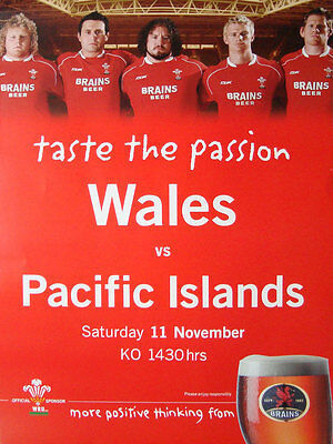 WALES v PACIFIC ISLANDS 2006 MATCH RUGBY POSTER