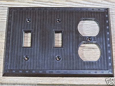 two Switches & Recptacle Plate brown Bakelite vintage NEW OLD STOCK NOS 1900's