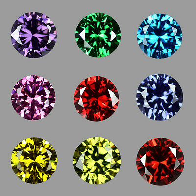 Cubic Zirconia Red, Green, Blue, Pink, Yellow, Round Brilliant Cut CZ