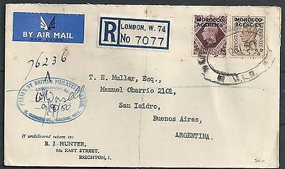 Morocco Agencies 1950 R-Airmailcover to Buenos Aires