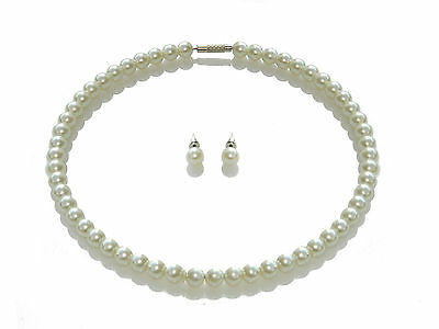 Elegant Bridal Jewellery Set White Pearls Choker Necklace and Earrings Stud S214