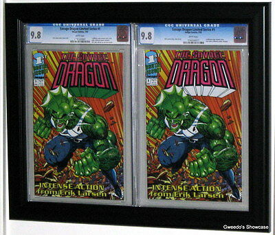 double cgc comic book display frame black plastic molding custom holds 2 books