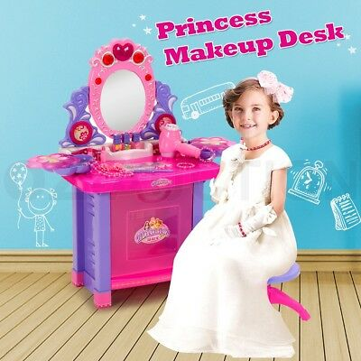 Make Up Vanity Mirrored Table Desk Beauty Pretend Play Toy Set Music Light Stool