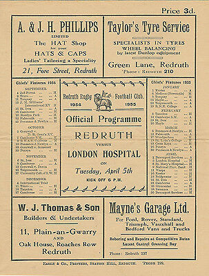REDRUTH v LONDON HOSPITAL 5 Apr 1955 RUGBY PROGRAMME