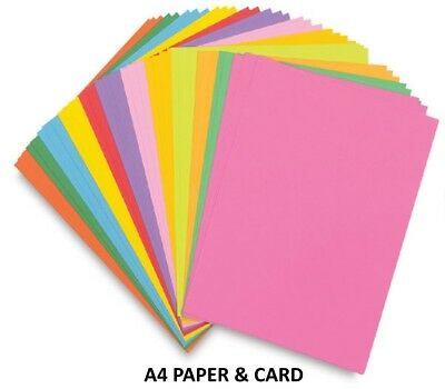 A4 Coloured Sheets ~ 80GSM Printer Copier Paper OR 160GSM Craft Card -You Select