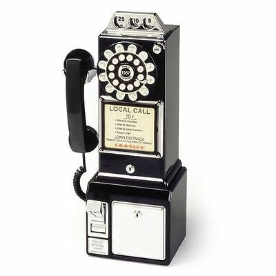 Crosley 1950's Pay Phone In Black 3 Coin Slots Wall Mountable Functional