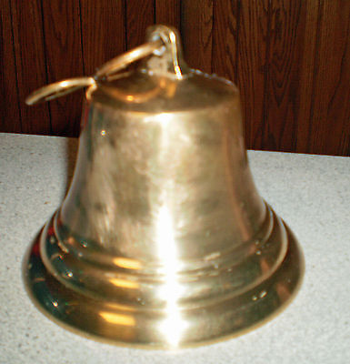 "Antique Vintage Brass Cow Goat Bell Cowbell Goatbell 4"" Tall x 4-1/4"" Diameter"
