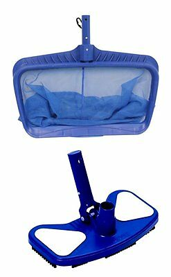 Hydrotools 8040 Deep Bag Leaf Rake Swimming Pool Net + 8130 Weighted Vacuum Head