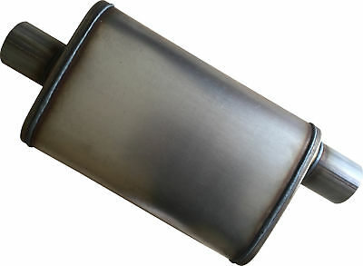 "Oval MUFFLER Stainless Steel 3"" HIGH FLOW 14"" Long Offset/Centre NEW"