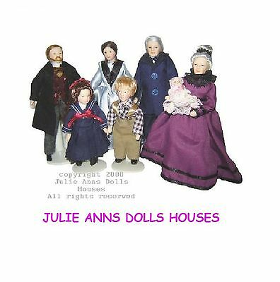 1:12th SCALE FAMILY OF SEVEN PEOPLE DOLLS HOUSE MINIATURE, JULIE ANNS