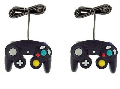 2x Black wired Joypad CLASSIC CONTROLLER Gamepad For NINTENDO GAMECUBE GC & Wii