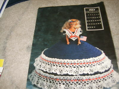 Miss July 1991 Fashion Doll crochet craft dress for Barbie Fourth of July 4th