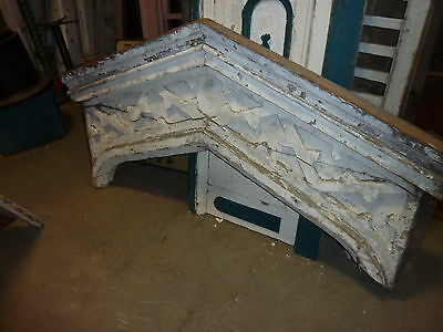 "c1820-30 Colonial era wooden DOOR pediment CRACKLED white paint 72"" x 40"""