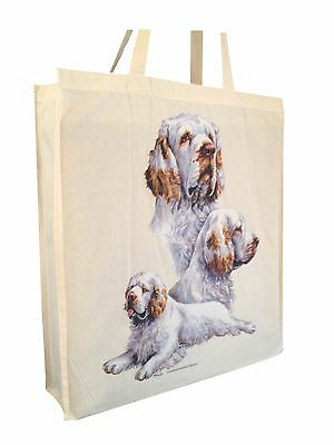 Clumber Spaniel Cotton Shopping Bag with Gusset and Long Handles Perfect Gift
