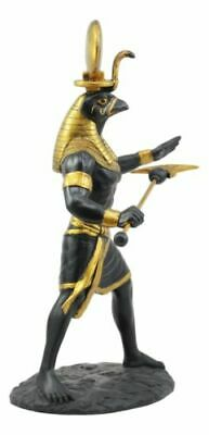 Egyptian God Horus Ra With Sun And Uraeus Disc Statue Deity of Sun War And Sky