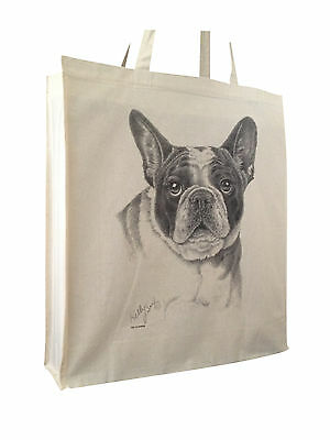 French Bulldog Cotton Shopping Bag with Gusset and Long Handles Perfect Gift