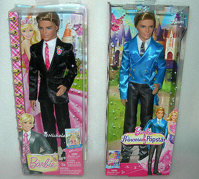 Barbie Charm School Prince Nicholas or Princess & The Popstar Liam Doll - NIB