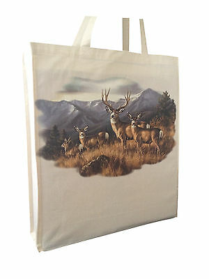 Stunning Stag Deer Themed Cotton Shopping Bag Tote with Long Handles
