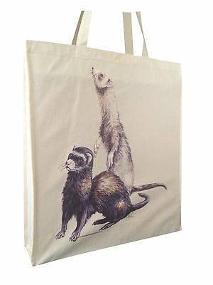 Cheeky Ferret Natural Cotton Shopping Bag Tote Long Handles Perfect Gift