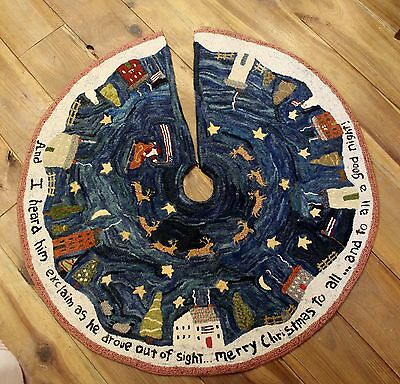 """Primitive Hooked Rug Pattern On Monks """"Christmas In New England Tree Skirt"""""""