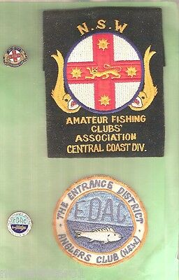 #d14. Four Old Fishing Cloth Patches & Badges