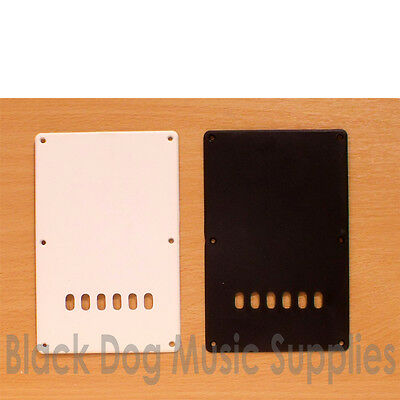 Guitar tremolo spring cavity cover / back plate in white or black inc screws