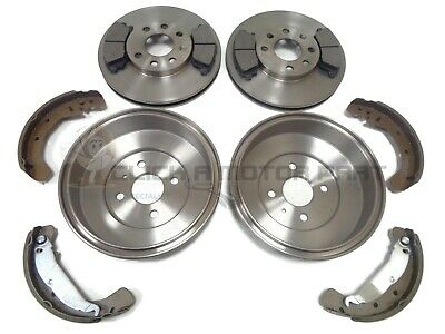 Vauxhall Combo Van Rear 2 New Brake Drums And Shoes Set & Front 2 Discs & Pads