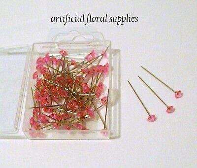 100 pink diamante diamonte pins 1.5 inch buttonholes