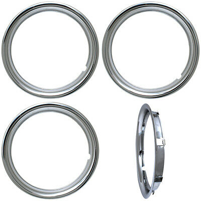 """4 PC SET 15"""" Chrome ABS Trim Rings Beauty 1 3/4"""" Depth For Hub Caps Outer Ring"""
