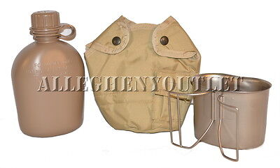 USGI Military SET 1 QT COYOTE PLASTIC CANTEEN + TAN COVER + STAINLESS CUP NEW