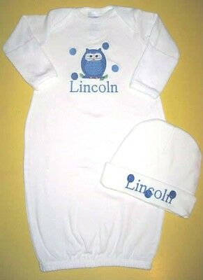 Personalized Baby Boy or Girl OWL SLEEPER Gown T Shirt & HAT Outfit Gift SET