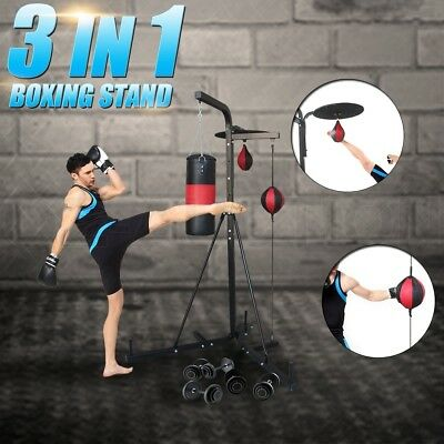 3 IN 1 Multi Station Boxing Stand Punching Kick Bag Floor To Ceiling Speed Ball