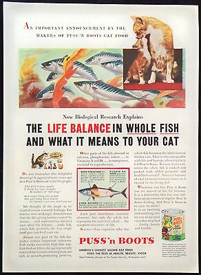 1953 Puss 'n Boots Cat Food - Life Balance In Whole Fish Magazine Print Ad