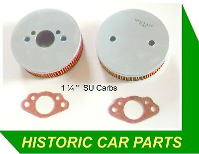 """2 x 1 ¼"""" SU Carb Air Filters +Gaskets for Triumph Spitfire 1300 Mk 3 4 1967-74"""