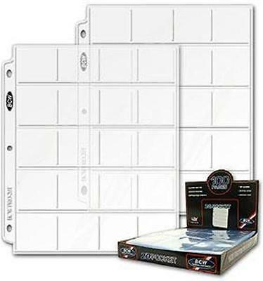 ONE HUNDRED (100)  BCW Pro 20 Pocket Pages for 2X2 Coin Flips NEW