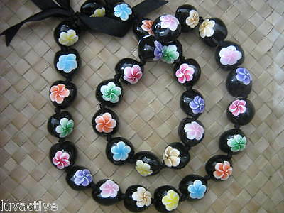 Hawaii Kukui Nut Lei Multicolored Plumeria Flower Necklace Graduation Wedding