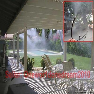 New 33Feet Garden Lawn Greenhouse Misting Cooling System 10 Plastic Mist Nozzles