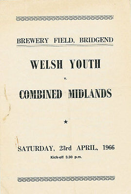 WALES v MIDLANDS (ENGLAND) YOUTH UNDER 19 1966 RUGBY PROGRAMME