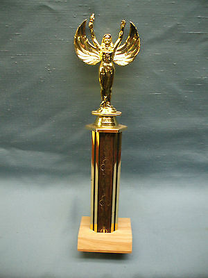 gold VICTORY topper trophy award wood column gold torch