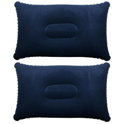 2 x BLUE INFLATABLE PILLOW CAMPING TRAVEL SOFT BLOW-UP
