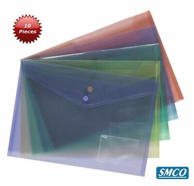 Qty 10 A4 Smco Plastic Document Wallets Folders Assorted Colours Poppers