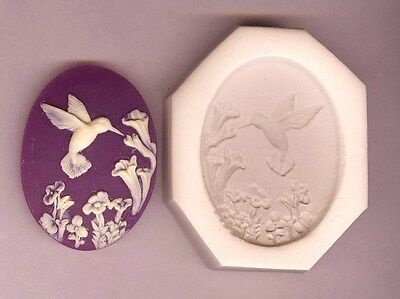 CAMEO 40x30 Hummingbird With Flowers Feeding Polymer Clay Push Mold #25