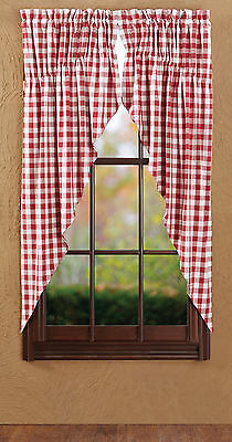 Buffalo Red Check Prairie Curtains Country Primitive Red/White Plaid Panel VHC